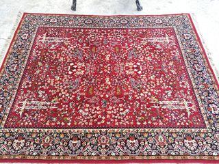 Gran alfombra semi-antigua de animales