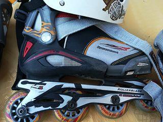 patines, casco, y protectores