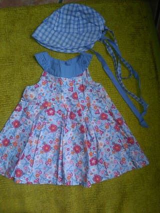 vestido y gorro 6_12m