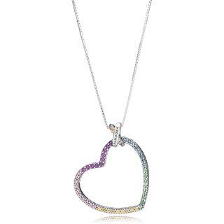Collar en plata Corazón Multicolor Pandora