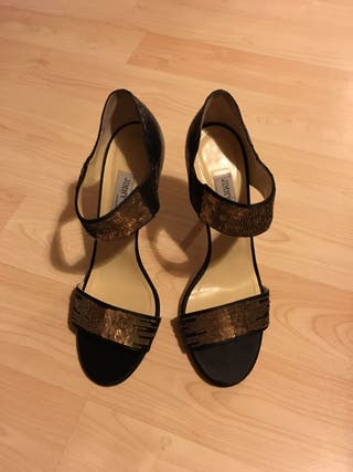 Jimmy Choo Tallow Sequined Snakeskin Sandal