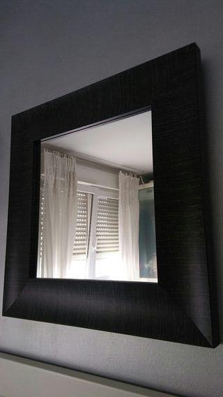 2 Espejos cuadrados 60 con marco madera marrón 10