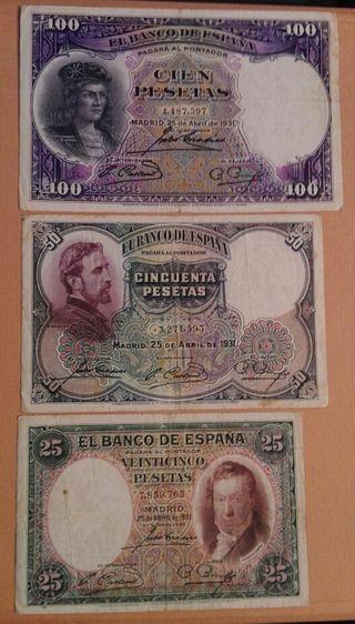 3 billetes antiguos de 1931