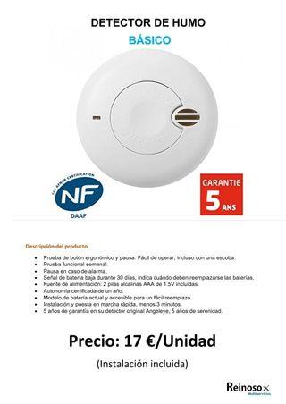 Detectores de humos desde 14€ instalación incluida