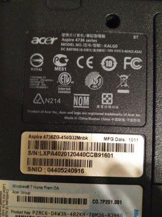 Ordenador portátil Acer Aspire 4736ZG para piezas