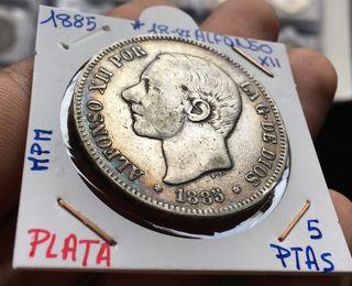 Moneda Plata 5 Pesetas 1885*(18-87) MP-M