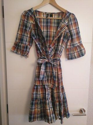 vestido de cuadros- MANGO