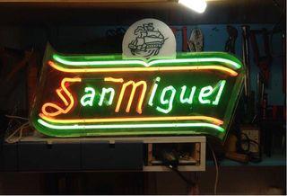CARTEL LUMINOSO SAN MIGUEL NEON ORIGINAL RETRO