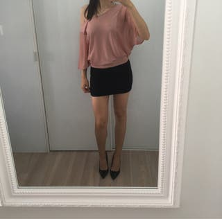 Vestido rosa palo y negro