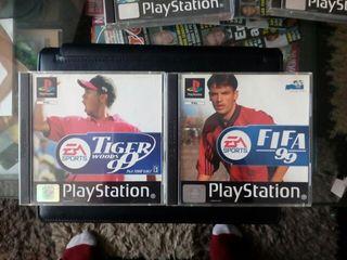 """PS1 """"Fifa 99"""" y """"Tige Woods 99"""""""