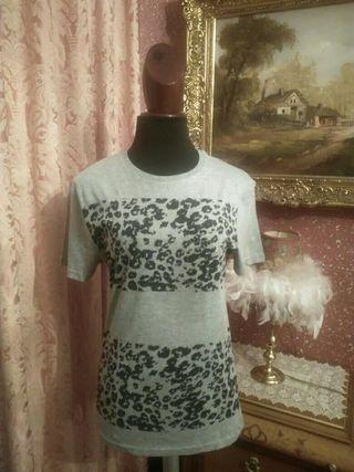 camiseta NUEVA talla S leopardo gris negro