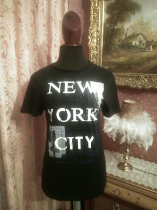 camiseta manga corta talla S Negra New York
