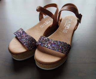 Sandalias glitter de piel