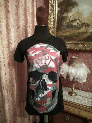 camiseta calavera manga corta talla S Negra roja