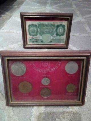 set monedas y billete inglaterra