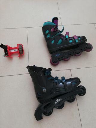 patines + patines para poner en zapatos