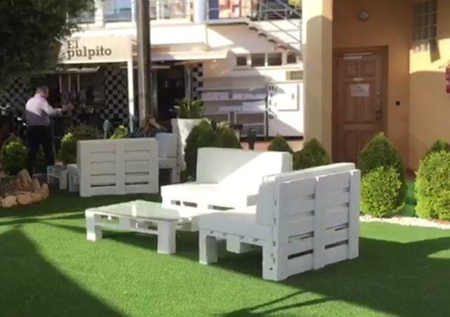 conjunto muebles terraza palet europeo de segunda mano por