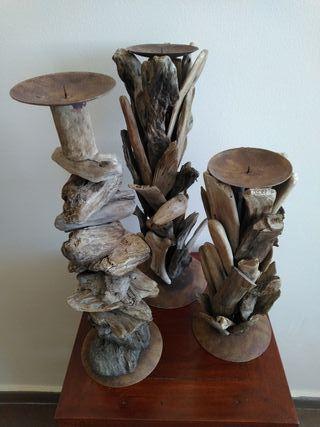 3 candelabros de madera para velas