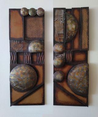 2 cuadros relieve de forja