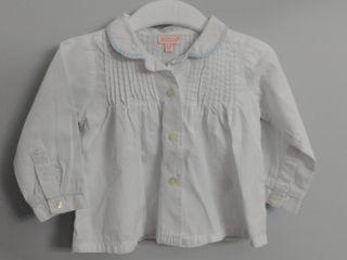 camisa bebé Gocco 6/9 meses blanca 100% algodón