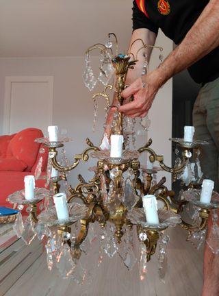 lampara de bronce con cristales
