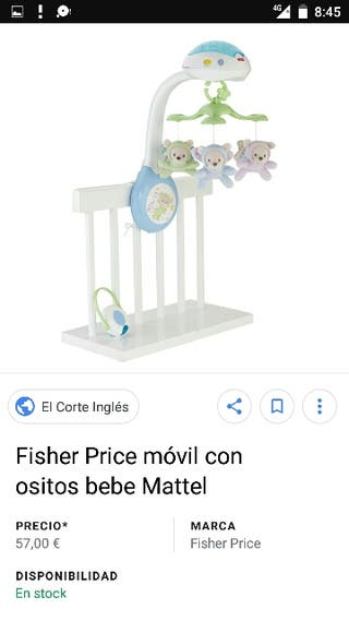 Móvil cuna Fisher Price con mando a distancia.