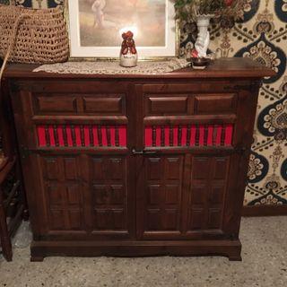 Mueble con cama plegable madera rústico m