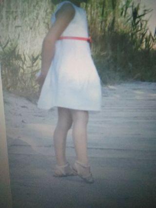 vestido blanco talle alto de zara talla 3-4