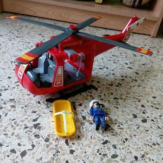 helicóptero de playmobil rescate