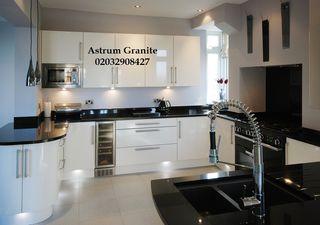 Absolute Black Flamed Granite Kitchen Worktop