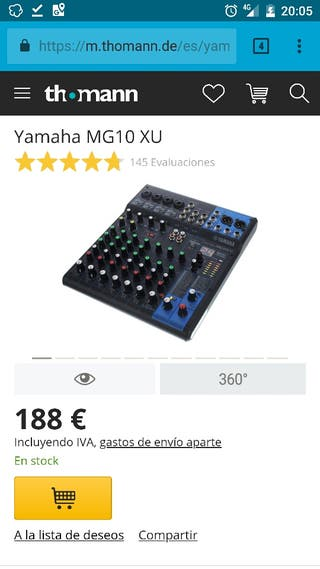 Mesa mezclas Yamaha MG10 XU