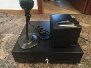 Caja registradora ticketera y lector de codigos