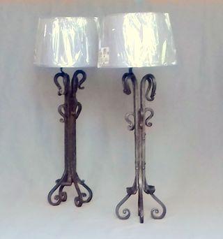 Lamparas de mesa vintage originales, forja hierro