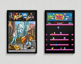 Cuadros videojuegos Final Fight y Bubble Bobble
