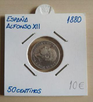 Moneda 50centimos 1880 alfonso XII plata