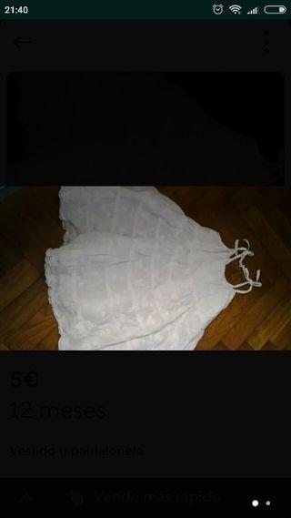 vestido y pantaloneta 12 meses
