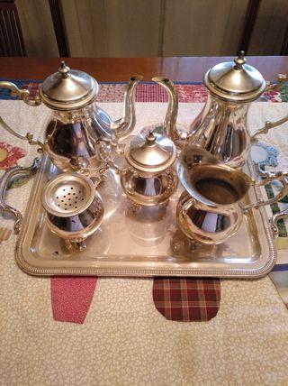 juego de cafe de plata italiana