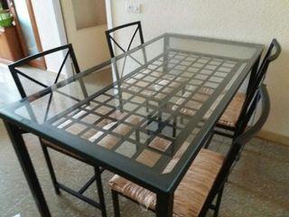 Mesa comedor forja y cristal de segunda mano por 175 € en ...