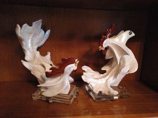juego de gallos ceramica de galos