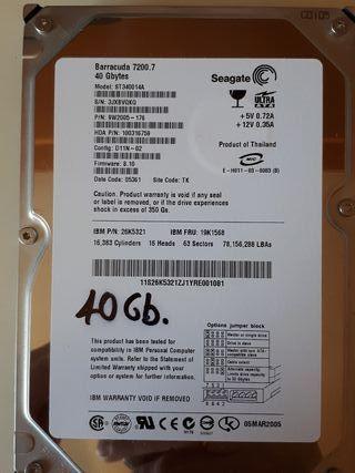 3 Discos Duros HD de 40Gb 3,5 pulgadas