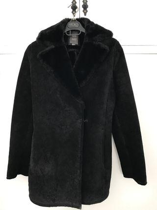 abrigo chaqueta negra M piel porcina Mango
