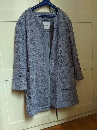 Abrigo/chaqueta croche azúl violáceo Mango Talla M