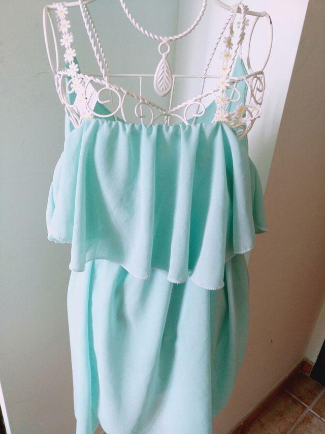 Vestido Color Verde Agua Talla S De Segunda Mano Por 7 En