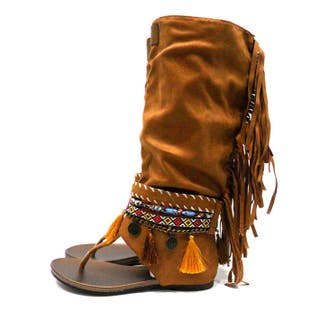 Sandalias boho de caña alta