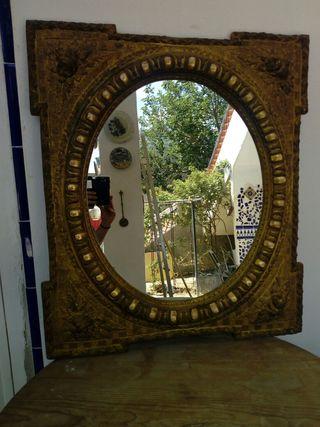Espejo ovalado de madera tallada,S.XIX