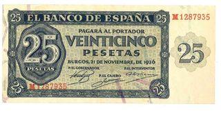 ESPAÑA SPAIN 25 PESETAS - BURGOS 1936 - Serie M128