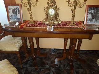 candelabros y reloj bronce