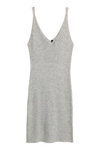 Vestido largo gris canalé