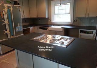 Absolute Black Honed Granite Kitchen Worktop in UK