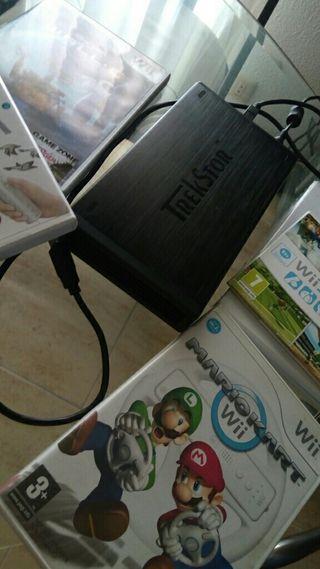 Disco duro500gb + juegos wii (muchos)